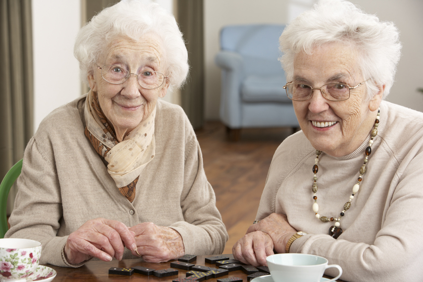 9911225 - two senior women playing dominoes at day care centre