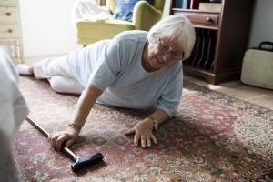 Elderly woman fell on the floor